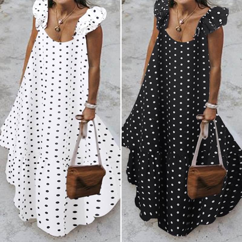 Elegante plissado maxi vestido de verão das mulheres zanzea 2020 sem mangas maxi vesidos feminino polka dot impresso casual robe S-5XL