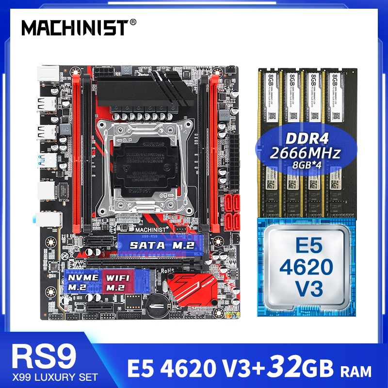 ماشينيست X99 اللوحة LGA2011-3 توربو كومبو مع سيون E5 4620 V3 32 جيجابايت 4*8 جرام DDR4 ذاكرة وصول عشوائي مكتبية مجموعة عدة اللوحة الرئيسية X99-RS9 خادم