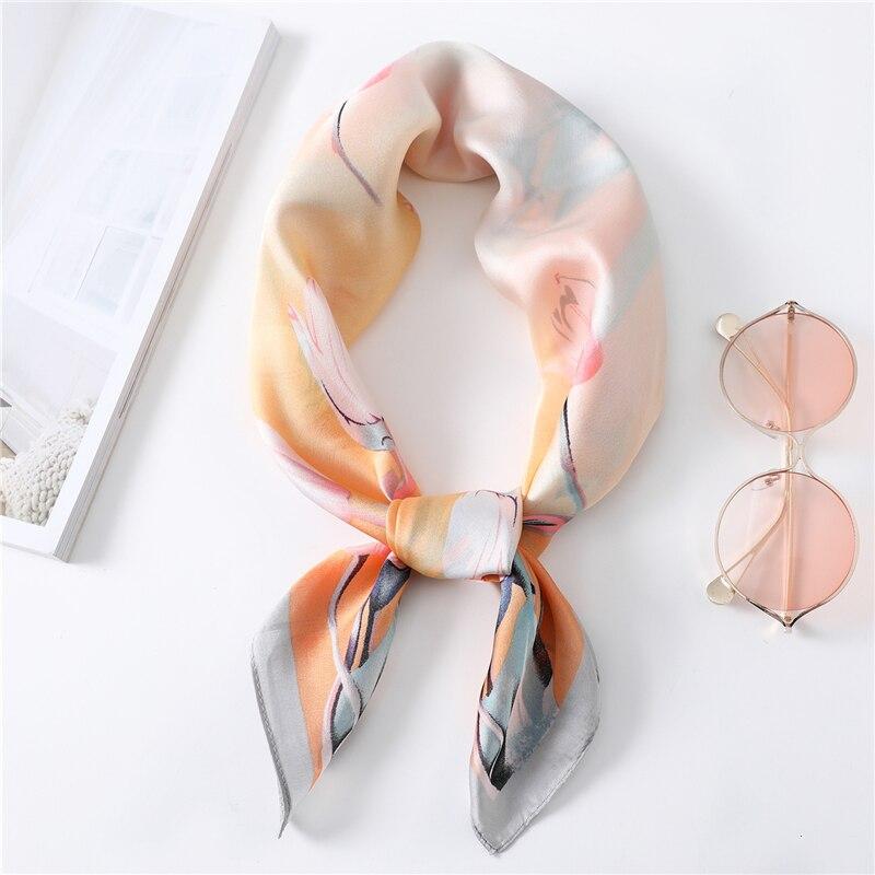 Весна 2020, новый тренд, квадратный шарф, женские маленькие шелковые шарфы с цветочным принтом, высокое качество, шали, шарфы, бандана, Femme Echarpe