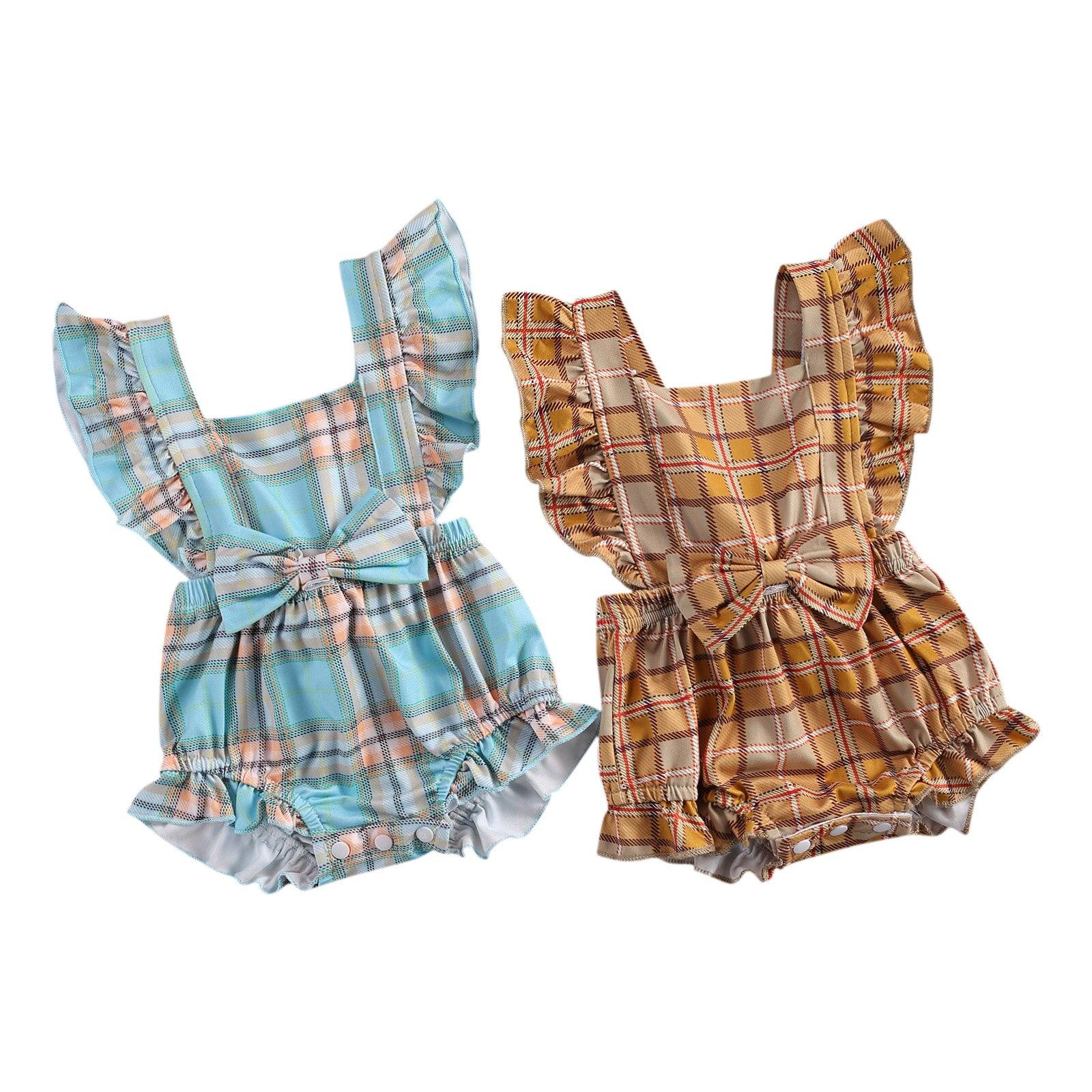 0-24M Baby Boys Girls Romper Set Winter Long Sleeve Simple Plaid Printed Romper Top