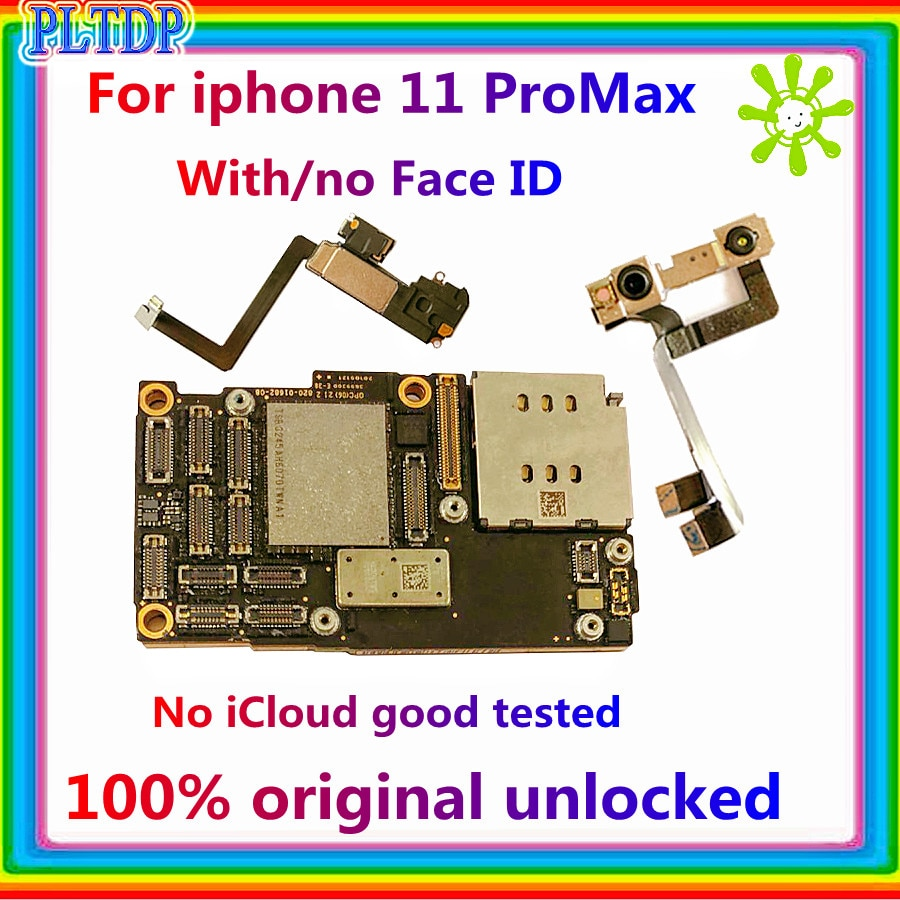 Promo Official version For iPhone 11 pro max Motherboard With/NO face ID 100% Original unlocked free icloud logic board 64GB 256GB 4G