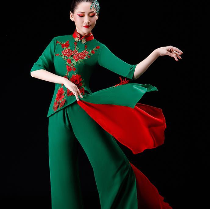 2021 جديد إمرأة يانغكو أداء الصيف الخصر طبل مروحة الرقص الكلاسيكية الرقص أنيقة ساحة الرقص سترة السراويل