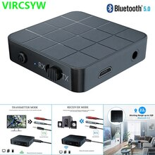 VIRCSYW Bluetooth 5.0 Receiver Transmitter 2-in-1USB 3.5mm AUX Jack Stereo Music Adapter for Car TV