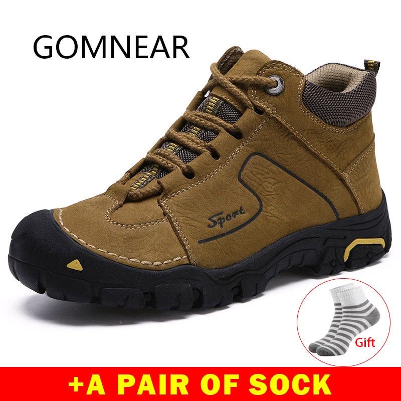 Gomnear sapatos ao ar livre de couro genuíno trekking caminhadas sapatos homens respirável botas inverno tênis montanha escalada sapatos