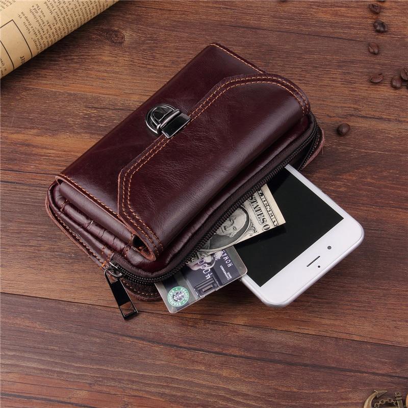 Genuine Leather Universal Phone Pouch For Oukitel WP6 WP2 WP1 K13 K12 K10 K7 Pro Power Y1000 Double-Deck Waist Belt Phone Case