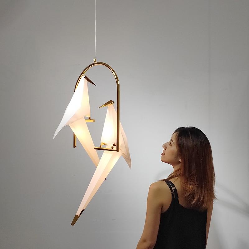 Luces colgantes nórdicas con diseño de pájaro, lámpara colgante con Grulla de Origami para dormitorio, sala, comedor, decoración interior, accesorios de cocina
