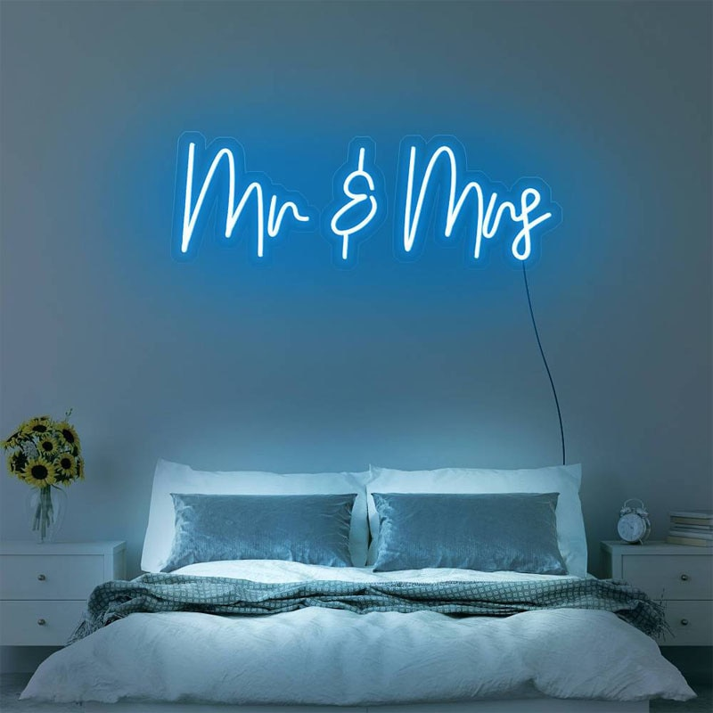 OHANEONK Mr & Mrs Neon Sign Light for Wall Decor 12V 3D Wedding Party Propose Marriage Decoration Backdrop enlarge