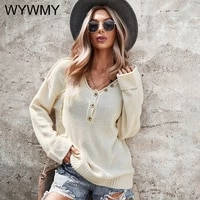 wywmy spring autumn long sleeve sweater women 2021 solid color v neck single breasted tops solid pullover casual loose blouses