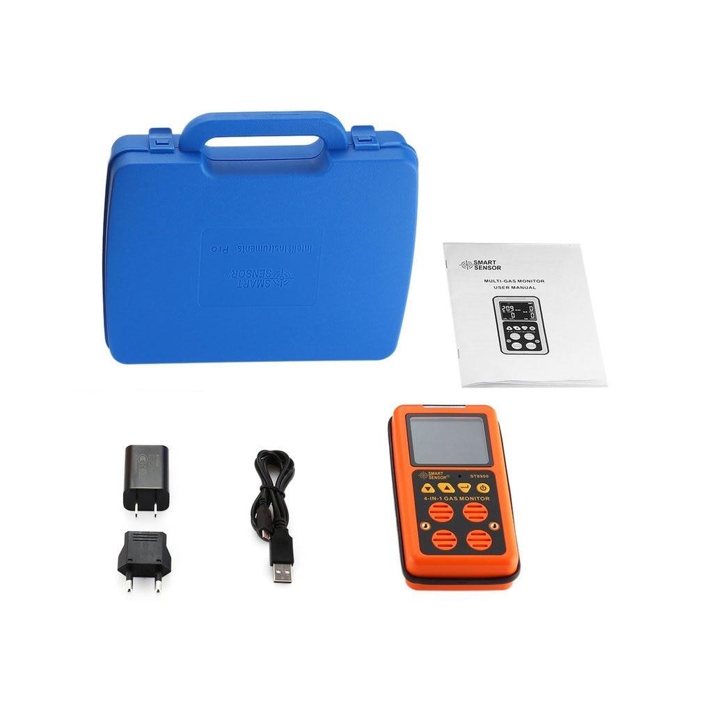 Detector de Gas Digital 4 en 1 O2 H2S CO LEL Mini analizador de Gas manual Monitor de aire probador de fugas de Gas medidor de monóxido de carbono ST8900