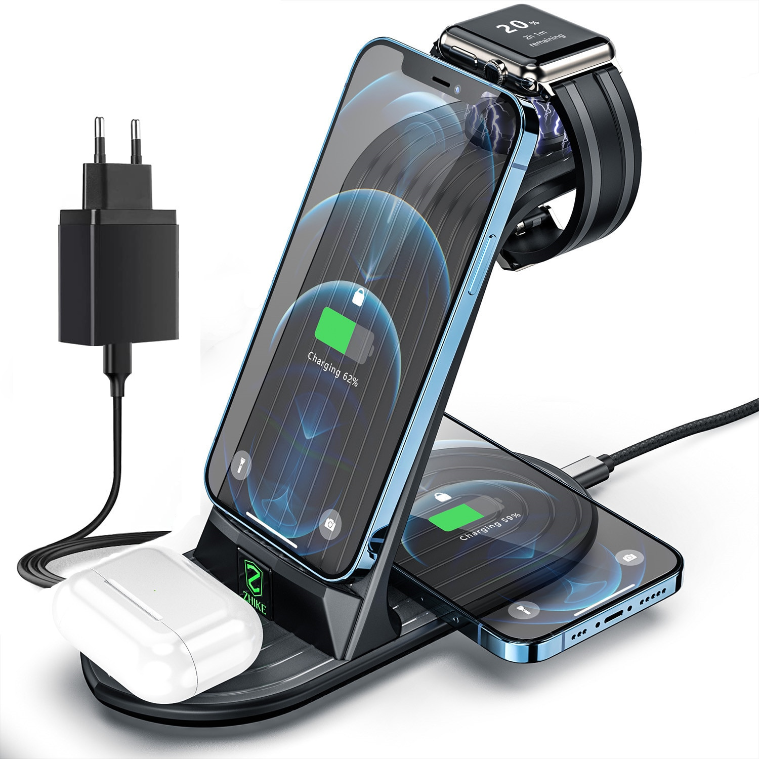 Wireless Charger, 4 in 1 Fast Charging Station for Apple Watch Series 6/5/4/3 iPhone 12/11 Pro Max/S