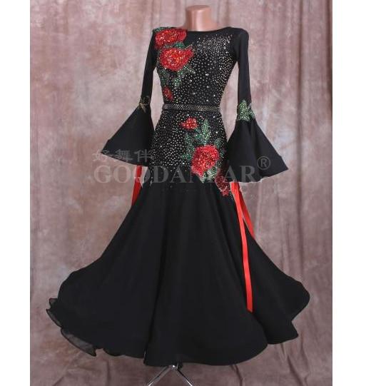 GOODANPAR, vestido de salón hecho a medida, trajes de drag queen estándar, Vals, Tango, Quickstep, vestido de baile, manga acampanada negra