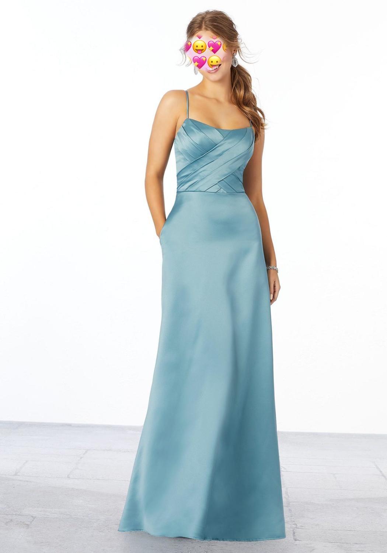 Vestido de dama de honor con tirantes finos, satén, elegante, Boda, 2020
