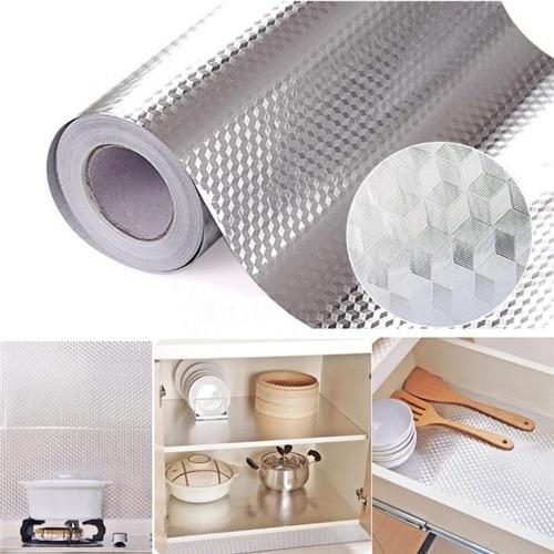 Papel pintado impermeable autoadhesivo de papel de aluminio de alta calidad para la etiqueta engomada de la cocina DIY papel pintado de la decoración del hogar 40 × 200cm