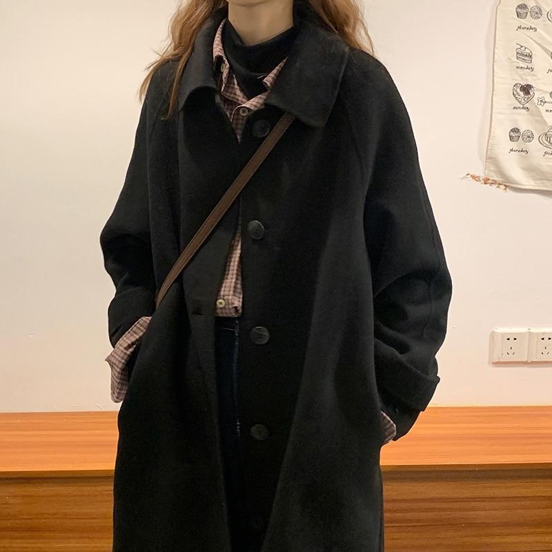 New Coat Autumn And Winter Black Woolen Women's Woolen Coat Medium Long Small
