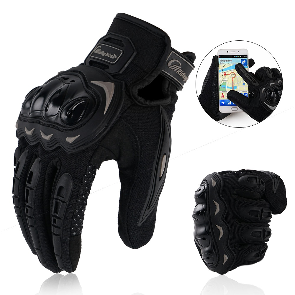 free shipping newest rs 390 full skin perforated carbon fiber glove motorcycle racing gloves full finger 3 size 3 color Motorcycle Glove Guantes Moto Touch Screen Full Finger Breathable Powered Outdoor Motorbike Racing Riding Bicycle Gloves Summer