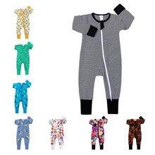0-24M Baby Boys Girls Rompers Newborn Long Sleeve Zip Up Cartoon Print One-pieces Infant jumpsuit Cu