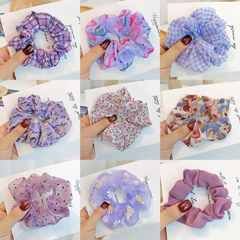 Niñas mujeres colorido anillo de pelo lazos de pelo Scrunchie Cola de Caballo elástico diadema sólida Organza Punto de onda accesorios diadema