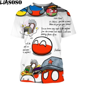 LIASOSO Polandball Graphic Countryball Print T Shirt For Men Africa RUSSIA UK India Middle East Iraq Toys Cosplay Anime Clothes
