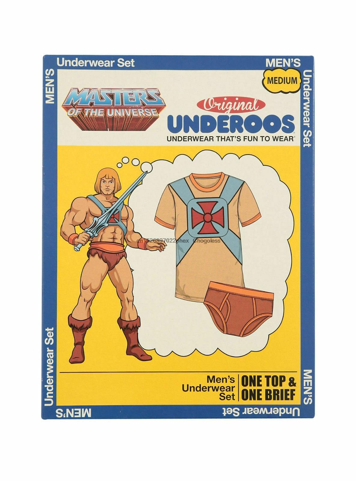 Underoos masculino mestres do universo he-man roupa interior t camisa & breve novo S-2XL