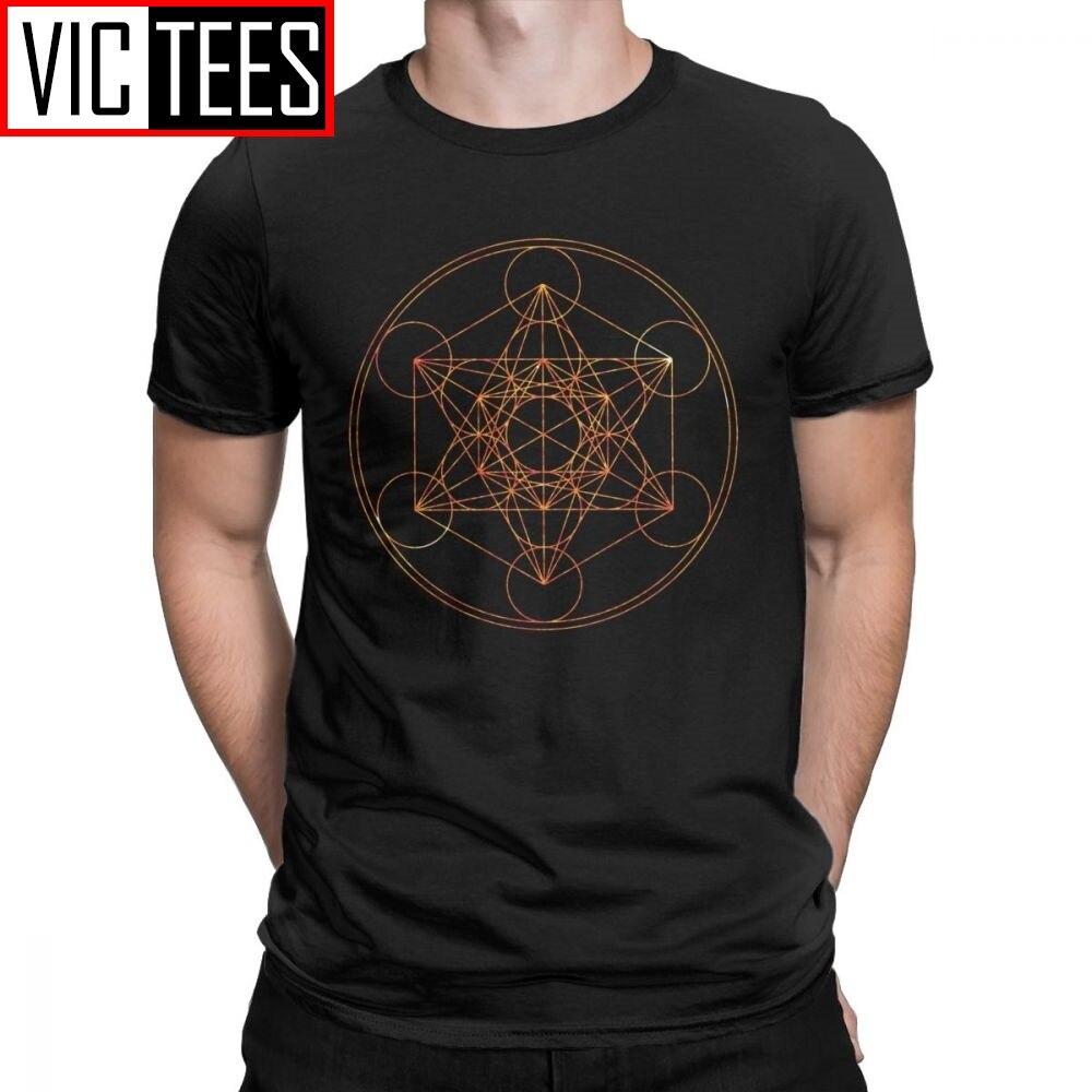 Metatron S Cube De Rode Maan T-shirt Mannen 100 Premium Katoen Vintage T-shirt Heilige Geometrie Magic Mandala Tees Korte mouw