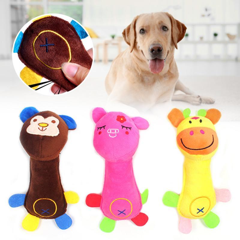 1 pçs novo high grade esponja material mistura cor bonito e adorável forma animal design de pelúcia squeaky cão de estimação brinquedo de mascar fornecimento