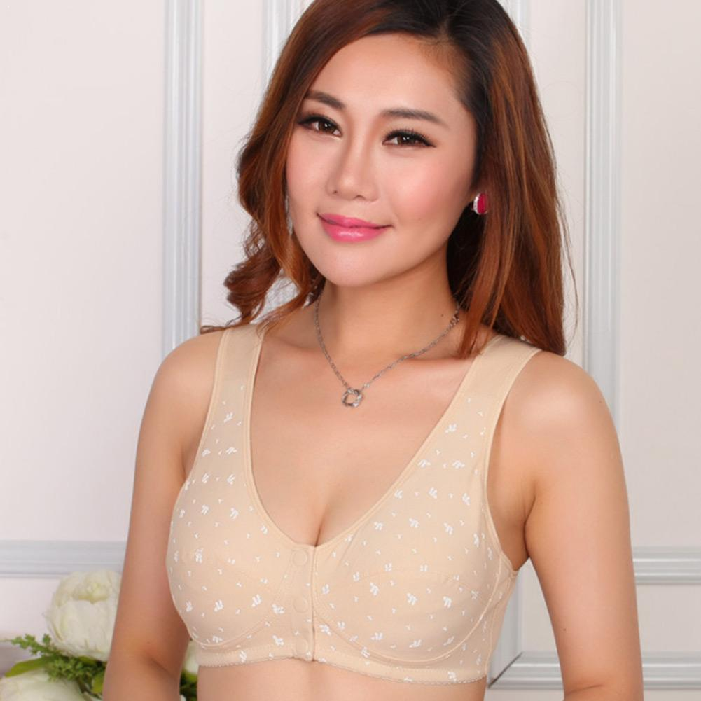 Women Casual Front Clasp Cotton Thin Bralette Lingerie Cup Size Bra Wireless Size Underwear Large Big Sleep Plus Comfortble F1T9