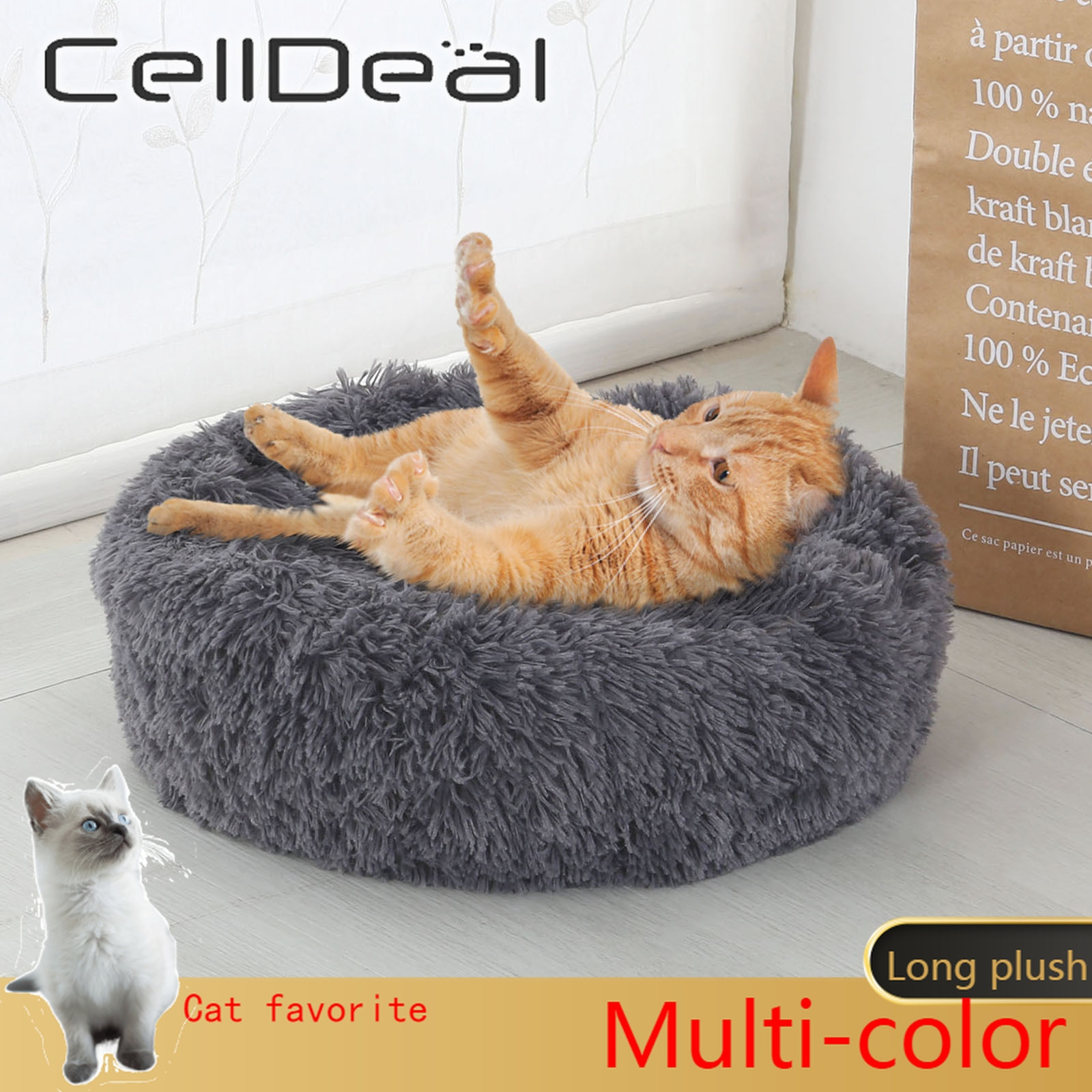 Cama de Gato supersuave, 14 colores, redonda, mullidas de gato, cesta para...