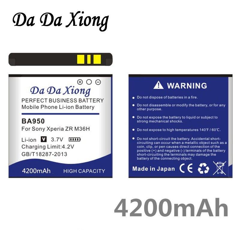 Da Da Xiong 4200mAh BA950 Li-ion Phone Battery for Sony Ericsson Xperia ZR SO-04E M36h C5502 C5503 AB-0300