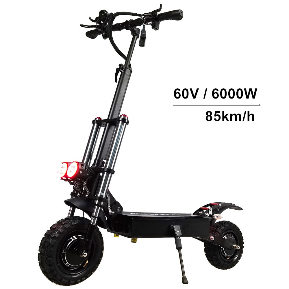 FLJ 6000 واط سكوتر بموتور كهربائي مزدوج مع 11 بوصة فراغ الإطارات على الطريق على الطرق الوعرة e دراجة ركلة سكوتر