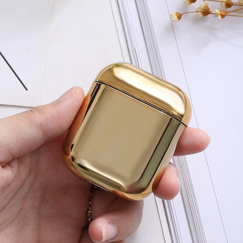 高級赤金属 bluetooth ワイヤレスイヤホンケースボックス音楽ヘッドセット保護カバー Airpods1 アンチロストゴールド