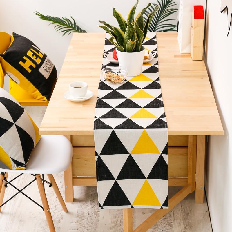 DUNXDECO-مفرش طاولة طويل ، غطاء طاولة ، حديث ، قطن ، أصفر ، أسود ، مثلث ، هندسي ، مزيج ، ديكور منزلي