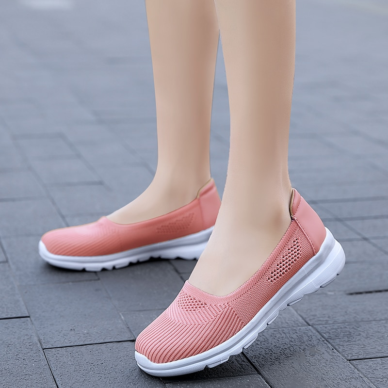 Verano 2020 zapatos ligeros laices Sport Walking Flats Mujer mocasines negro Rosa Suave transpirable mujeres Zapatillas Mujer deportiva