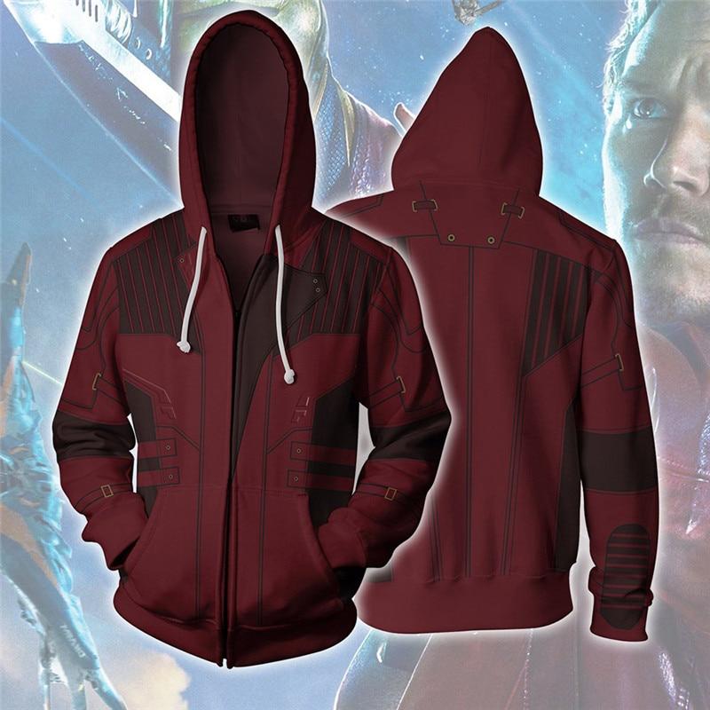 Disfraz de Cosplay de guardianes de la galaxia Star-Lord, Sudadera con capucha para hombres, ropa de calle, sudaderas con capucha para hombres y mujeres, sudaderas con cremallera