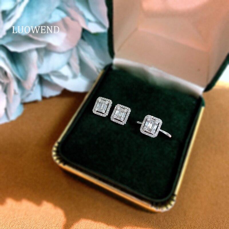 LUOWEND ريال 18K الصلبة الأبيض اقراط الذهب المرصع خاتم الإناث حلق من الماس ريترو حفلة خطوبة مجوهرات نسائية تصميم