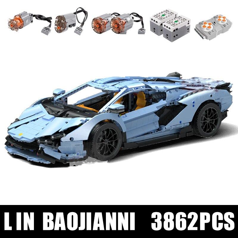 RC Auto 42115 Die Veneno Lamborghinis Aventador Roadster Power Funktion Auto MOC Bausteine Ziegel Kinder Technic Spielzeug
