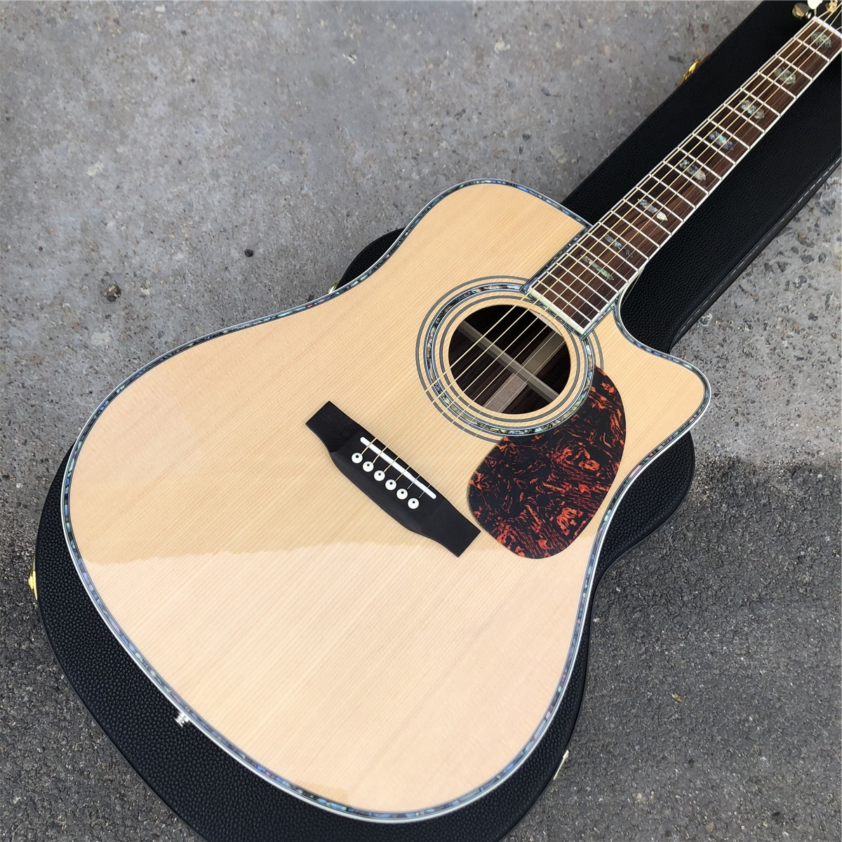 Cutaway D style Solid Spruce Acoustic Guitar,Rosewood Back and Sides 6 strings Guitarra,Real Photos