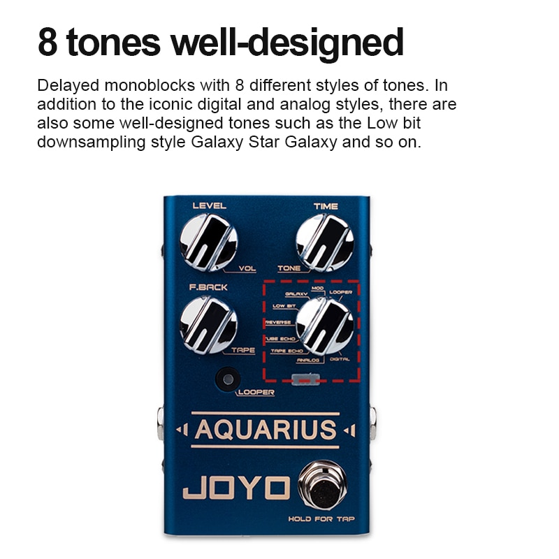 Aquarius Mini Effects Delay+Looper Electric Guitar Effects 8 Different Styles Of Tones Recording Time 5 Minutes Guitar Effects enlarge