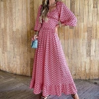summer 2021 womens dress western style printing hollow out high waist casual loose long sleeve square collar solid color