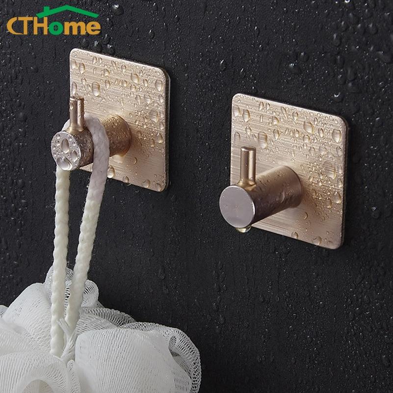 Autoadhesivo hogar cocina pared gancho llave titular toalla colgadores baño colgadores para llaves sombrero bufanda bolso almacenamiento aluminio