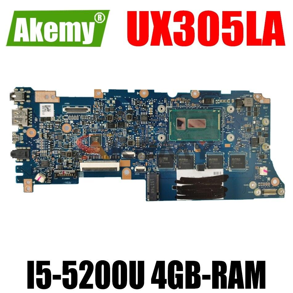 AKEMY UX305LA اللوحة الأم للكمبيوتر المحمول ASUS ZenBook UX305LA UX305L اللوحة الرئيسية الأصلية 4GB-RAM I5-5200U