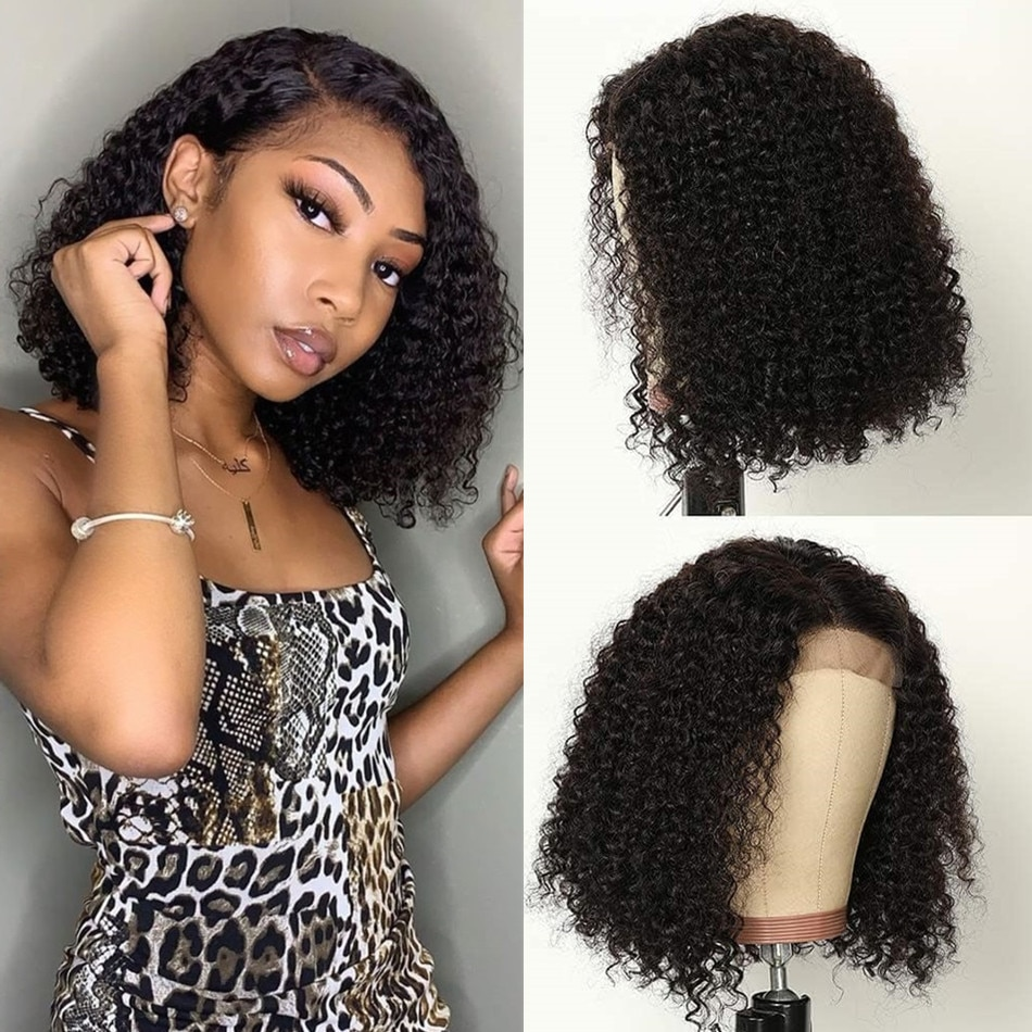 Short Curly Bob Lace Front Wigs 13x1 T Part Kinky Curly Wig Peruvian Human Hair Wig