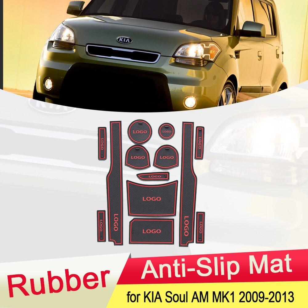 Противоскользящий резиновый коврик для KIA Soul AM 2009, 2010, 2011, 2012, 2013, MK1, подстаканник с канавками, слот для ворот, подставка для салона автомобиля,...