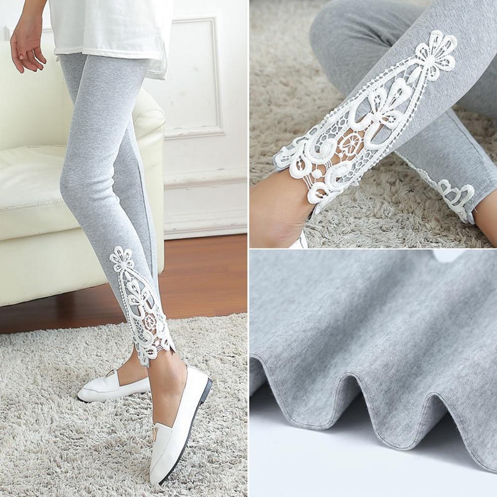 Women One size Lace Flower Crochet Skinny Stretchy Leggings Pants