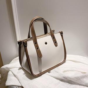 Elegant Female Contrast color Tote bag 2020 new high-quality PU leather Women's Designer Handbag travel Shoulder Messenger Bag