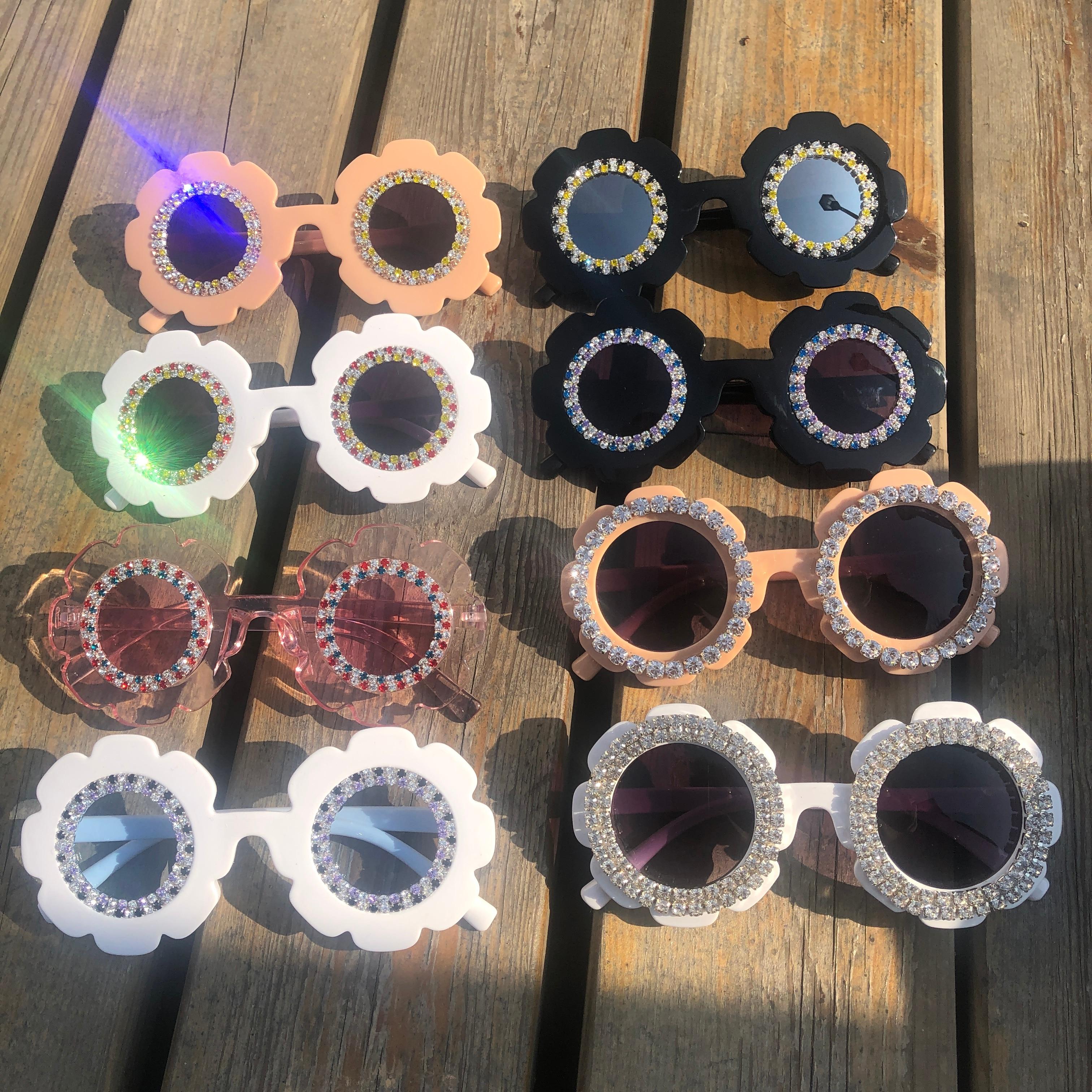 ZAOLIHU, bonitas Gafas de sol para bebé, 8 diseños, tonos de flores redondas, coloridos diamantes, Gafas para niños pequeños, Gafas de sol de verano para niños, Gafas de sol