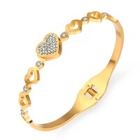 fysara new 2021 fashion stainless steel lover heart with clay rhinestone bangles beautiful bracelets for women jewelry