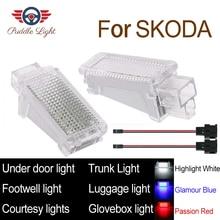 LED Car Interior Courtesy Under door Footwell Luggage Glovebox Roof Light Lamp For Skoda Fabia Octavia Superb Roomster Yeti