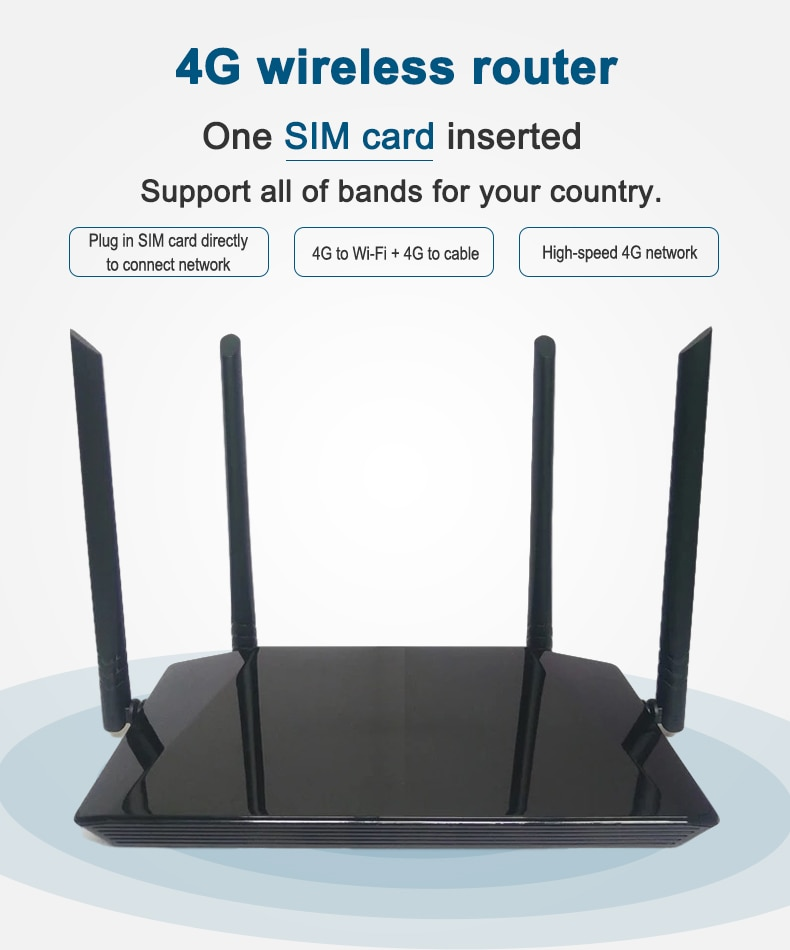 Unlocked 4G LTE wireless router 300Mbps indoor wireless CPE router 4Pcs antenna, with LAN port and SIM card slot, can accommodat enlarge