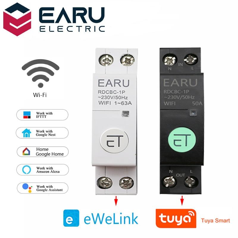 1P + N WiFi قاطع الدائرة الذكية الوقت الموقت التتابع التبديل صوت التحكم عن بعد بواسطة Tuya eWeLink المنزل الذكي ل أليكسا جوجل المنزل