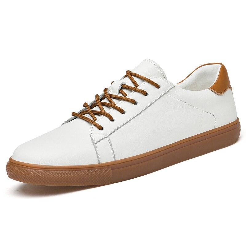حذاء رجالي الاتجاه الرجال جلد طبيعي موضة أحذية رياضية كاجوال الأبيض البرية تنفس عدم الانزلاق مقاومة للاهتراء أحذية رسمية